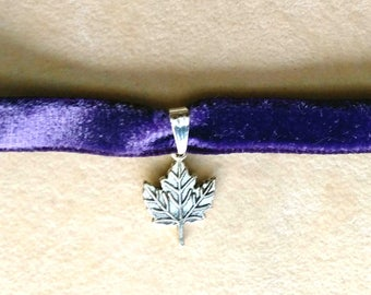 Maple Leaf Charm Choker, Small Leaf Pendant, Silver Leaf, Thin Purple Velvet, Charm Choker Necklace - Velvet Choker by enchantedbeas on Etsy