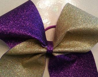 Purple/Gold Cheer Bow