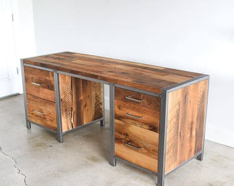 Large Rustic Desk made from Reclaimed Wood + Steel / 5- Drawers with Built in Filing