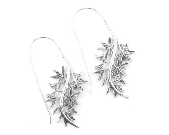 Willow Branch Earrings, Large Vine Earrings, Leaf Earrings, Tribal Brass Earrings, Festival Jewelry, Gypsy Earrings, Ethnic, Yoga Earrings