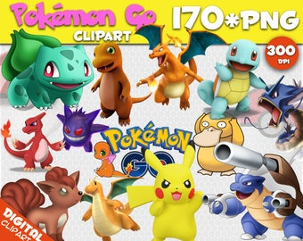 Pokemon Go Clipart 170 PNG 300dpi Images Digital Clip Art Moana Instant Download Graphics background birthday Pikachu party scrapbooking