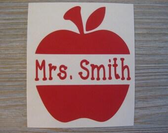 Apple Monogram Decal - Monogram Apple Decal - Monogram Car Decal - Monogram Decal - Monogram Teacher Decal - Teacher Decal - Apple Decal