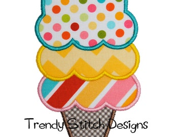 Ice Cream 3 Applique Design Machine Embroidery Design 3 scoop  Icecream cone INSTANT DOWNLOAD