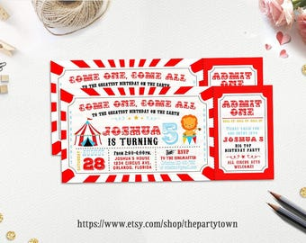 Circus Ticket Birthday Party invitation, Carnival Birthday Invite, Red and blue Chalkboard Personalized Party Printable