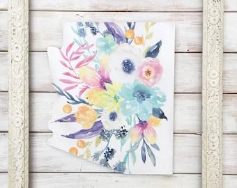 Arizona Home Decor. Arizona Home Sign. State Home Sign. Arizona Sign. State Sign. New Home Gift. Gift for Her. Boho Home Decor. Floral print