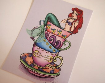 Teacup Ariel The Little Mermaid Postcard