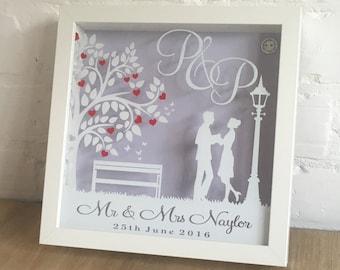 Personalised Lampost Wedding Shadow Frame