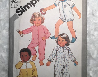 Simplicity Pattern 5593, Size 1 Toddler Pajamas In Two Lengths, With or Without Feet, Vintage Pattern