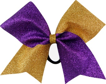 Sideline Tick Tock Purple and Old Gold Glitter Cheer Bow