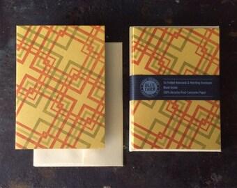 6 Lovers' Knot Letterpress Notecards - Orange and Olive on Gold