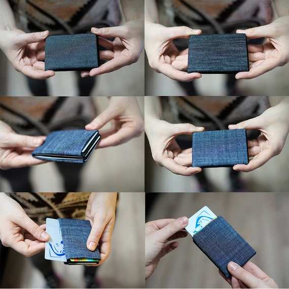 Vegan Wallet, Denim Mens Wallet, Minimalist Wallet, Womens Wallet, Washed Denim, Slim Wallet - RFID Blocking - Perfect Birthday Present