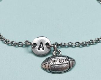 Football charm bracelet, football charm, adjustable bracelet, sports bracelet, personalized bracelet, initial bracelet, intial charm, sports