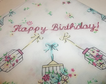 birthday hankie, birdcage handkerchief, hand embroidery, gift for friend, mom, in law, sis, aunt gift, friendship gift, just because gift