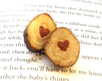 Chestnut Wood Slice Earrings - Personalized Earrings - Stamped Initial Earrings
