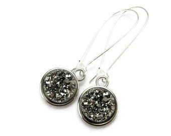 SPARKLING ONYX DRUZY Earrings, 925 Silver Kidney Wires, December Birthstone, Precious Raw Crystal, Black, 3D Gemstone Jewelry, Gift Under 20