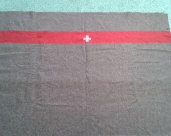 Vintage original Swiss Army Blanket, Swiss military Blanket, 1950's