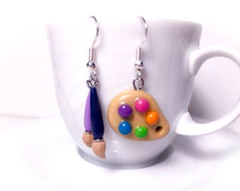 palette and brush earrings//gift for her//birthday//gift for girls//original Gift