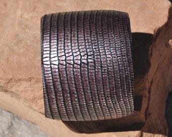 Bronze Lizard Leather Cuff