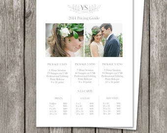 Photography Pricing Sheet Template - Price List Guide - Wedding Photographer Photo Print Investment Collections - PG01