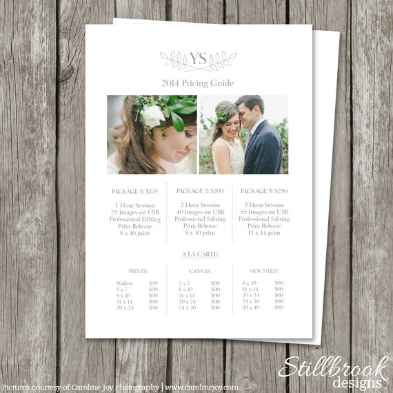 Photography Pricing Sheet Template Price List Guide