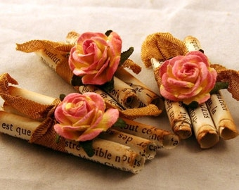 Vintage handmade embellishment, Old book pages, Mulberry flowers