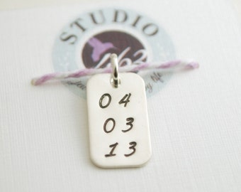 Custom Date Sobriety Jewelry Charm Recovery Gift Anniversary Jewelry for Women Hand Stamped Sterling Silver