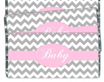 Baby Shower Candy Wrappers - Chocolate Bar Candy Wrappers - baby shower, chevron design