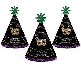 Mardi Gras - Personalized Masquerade Party Mini Cone Party Hats - Small Little Mardi Gras Party Hats - Mini Masquerade Party Hats - 10 Ct.