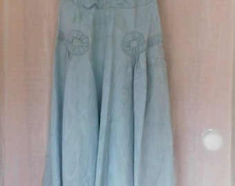 Vintage 1940s dress in pale blue watered silk, with full skirt and lots of ruching