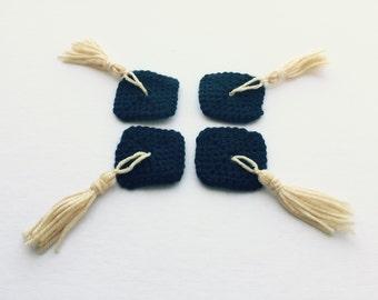 Set of 4, Crochet Mini Graduation Cap Appliques | Tiny Crochet Graduation Hats
