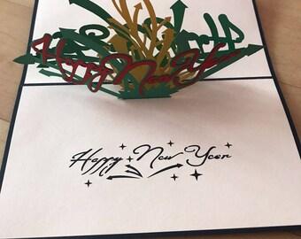 3D-kaart Nieuwjaar pop-up