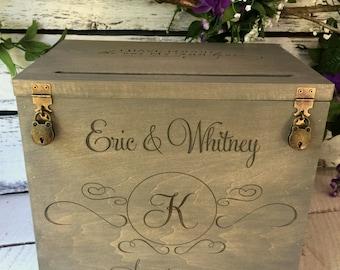 Wedding Card Box with slot Boho wedding card Box rustic card