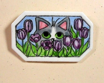 Cat In Tulips Clay Pin Handmade by Grace M Smith Earthenware Ceramic