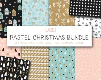 Huge Pastel Christmas Bundle - 100 Festive Assets - Premade Christmas Cards, Festive ClipArt and Seamless Patterns! - Instant Download