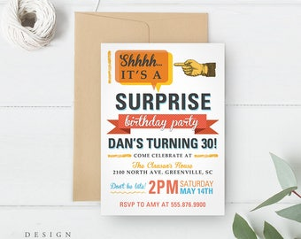 Shhh It's a Surprise Party Invitation, Surprise Birthday Party Invitation, Printed or Printable