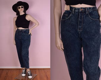 80s Deadstock High Waisted Dark Blue Stone Wash Jeans/ US 13/ 1980s/ Mom Jeans