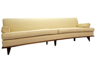 Mid-Century Sofa Danish Modern Sofa Concaved Front White Sofa on Walnut Legs