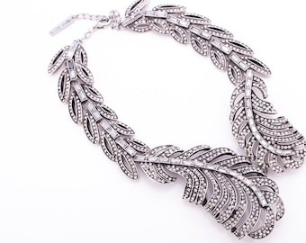 Vintage Oscar De La Renta Crystal Feather Statement Necklace