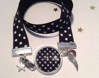 Jewelry Bracelets Support Cabochon & A Polka dot black & white fabric charms