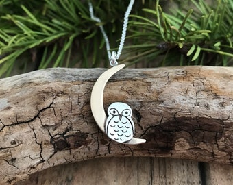 Owl and Moon Necklace, Silver and Bronze, Crescent Moon and Owl Necklace