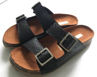 Sandals, Unisex Cork and Leather Sandals,Cork Sole Platform Slides Summer Shoes, Comfortable Sandals, gold leather,Comfort Fit