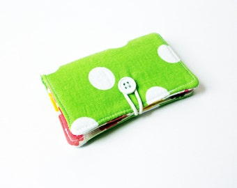 Lime Green Polka Dot Fabric Business Card Holder, with Pink Silly Spunky Dots - Credit Card Holder, Cloth Card Holder, Gift Card Holder