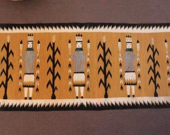 Vintage Native American Navajo Corn People Yei Rug Weaving