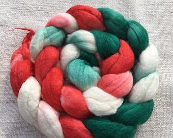 Christmas Merino silk blend roving