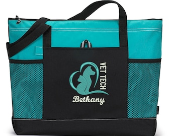 Vet Tech Animal Love Embroidered Zippered Tote Bag With Mesh Pockets, Beach Bag, Boating