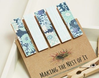 Blue Aqua Floral Strong Magnet Clothespin Clips