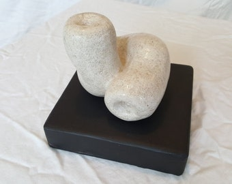 Hand Carved Limestone Abstract Organic Original Unique Sculpture - Inside Outside