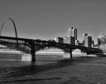 Downtown St. Louis, Eads Bridge and Gateway Arch on the riverfront original photograph, St. Louis Photo