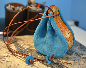 Real Leather DAISY TOADSTOOL Tooled and Embossed Stirrup Bag Pouch Blue Suede and Tan Medieval-style