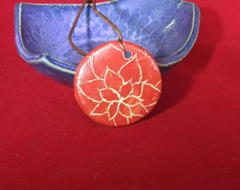 Red Lotus Ceramic Pendant